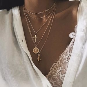 Jewelry - Rose, Coin, and Cross Layered Gold Necklace